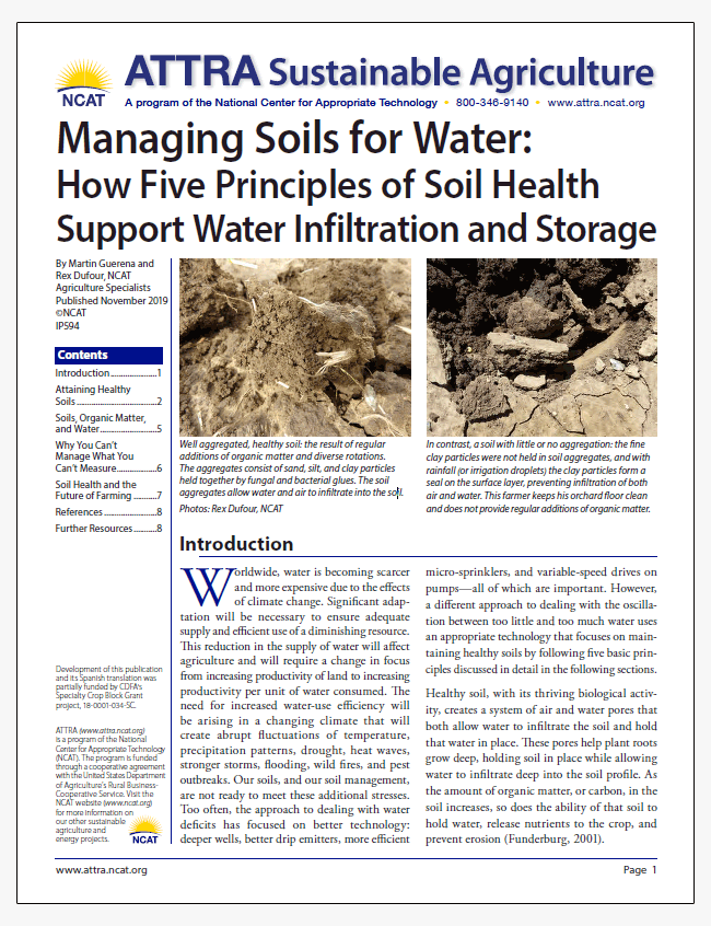 Managing Soils for Water: How Five Principles of Soil Health Support Water Infiltration and Storage