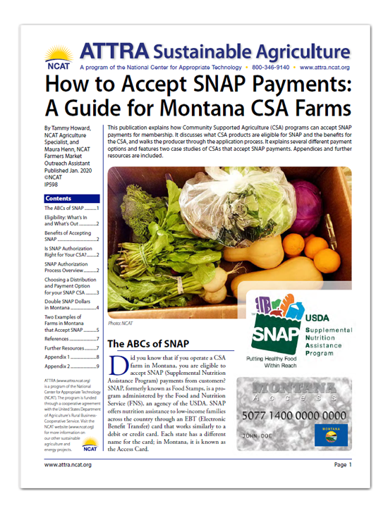 How to Accept SNAP Payments: A Guide for Montana CSA Farms