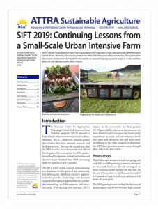 SIFT 2019: Continuing Lessons from a Small-Scale Urban Intensive Farm