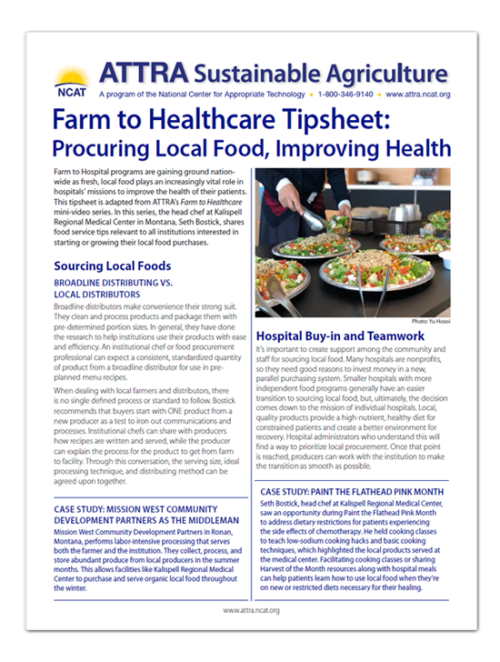 farm to healthcare tipsheet cover art