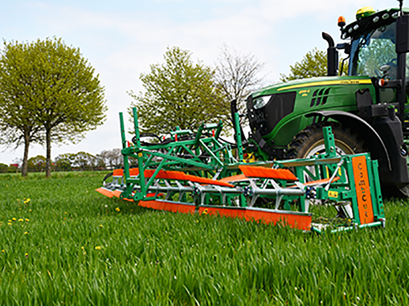 A combcutting implement removing broadleaf plants from a grass crop.